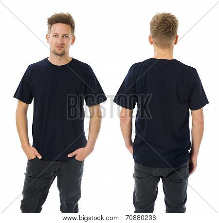 Man Posing With Blank Dark Blue Shirt