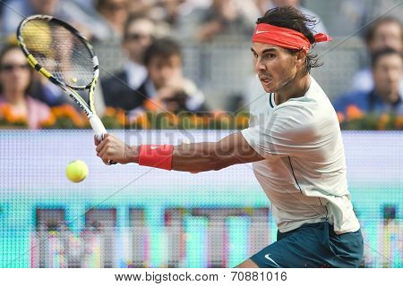 Spanish Tennis Player Rafael Nadal In Action During The Mutua Madrid Open 2013