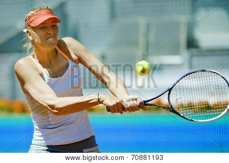 Maria Sharapova In Action During The Mutua Madrid Open 2013 Worl