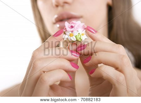 Fashion Studio Shot Of Beautiful Woman With A Floral Ring (jewelery Made Of Polymer Clay)