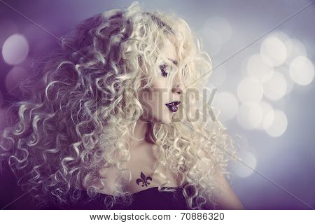 Woman Fashion Beauty Portrait, Model Girl Hairstyle With Blond Curly Hair, Beautiful Makeup, Long Cu