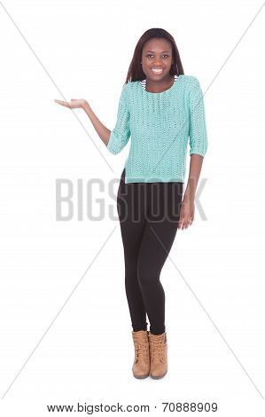 Woman Holding Invisible Product Against White Background
