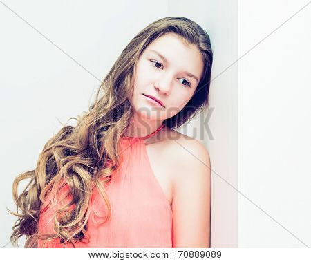 romantic young beautiful girl with gorgeous long hair