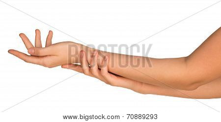 Two stroking hands and arms