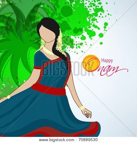 Poster of beautiful lady of south india wearing south indian dress on floral decorated background.