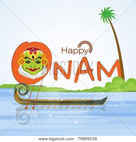 Illustration of kathakali dancer face in text of happy onam and snake boat on nature background.