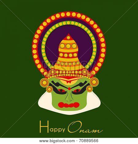 Indian cultural Kathakali dancer face on green background for South Indian festival Happy Onam celebrations.