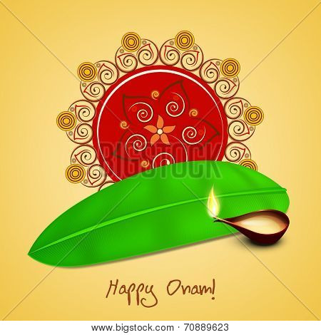 Illustration of beautiful rangoli, banana leaf and illuminated oil lit lamp on light yellow background.
