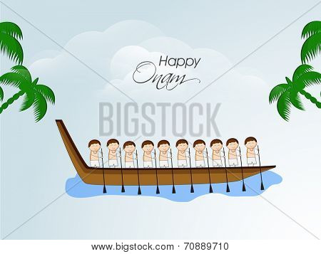 South Indian people participating in Snake Boat Racing in river with coconut trees on nature background.