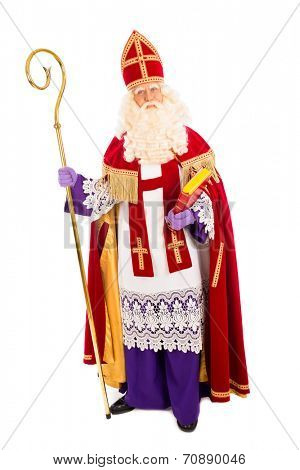 Sinterklaas portrait. isolated on white background. Dutch character of Santa Claus