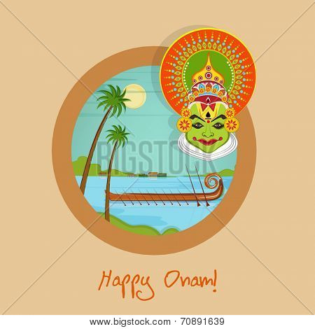 Stylish sticker, tag or label with evening view of river site with snake boat racing and traditional Indian Kathakali dancer face on beige background for Happy Onam celebrations.