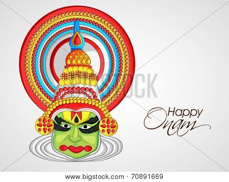 Image of a colourful Kathakali face with heavy crown decorated with pearls and stone.