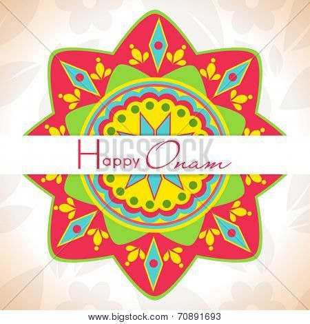 Colorful floral design decorated rangoli on grungy brown background for South Indian festival Happy Onam celebrations.