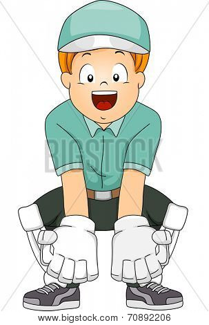Illustration of a Boy in Cricket Gear Assuming a Wicket Keeper's Position