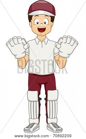 Illustration of a Boy Dressed as a Wicket Keeper