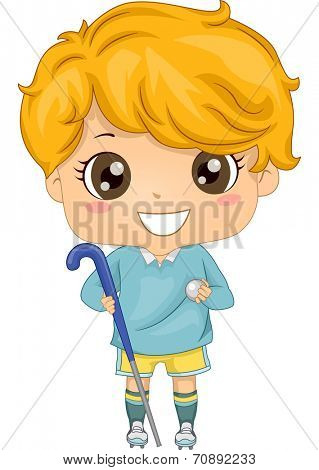 Illustration of a Boy Dressed in Field Hockey Gear