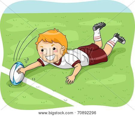 Illustration of a Male Rugby Player Scoring a Goal