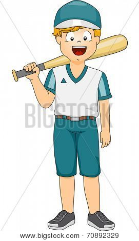 Illustration of a Boy Dressed as a Baseball Batter