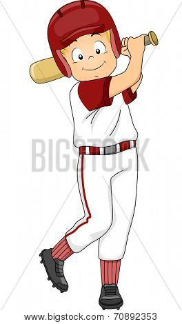 Illustration of a Boy Dressed in Baseball Gear Assuming a Batter's Position