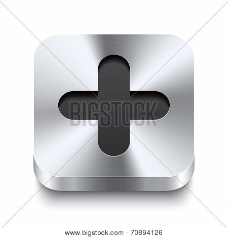 Square Metal Button Perspektive - Plus Icon