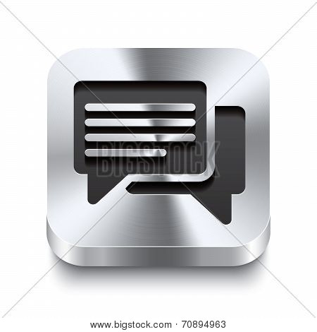 Square Metal Button Perspektive - Speech Bubbles Icon