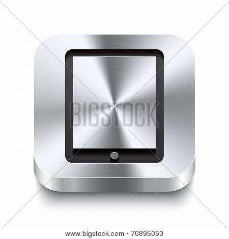 Square Metal Button Perspektive - Tablet Icon