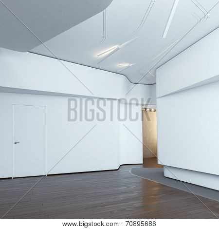 Modern interior with white walls