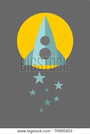 Spaceship on the moon background with blue stars.