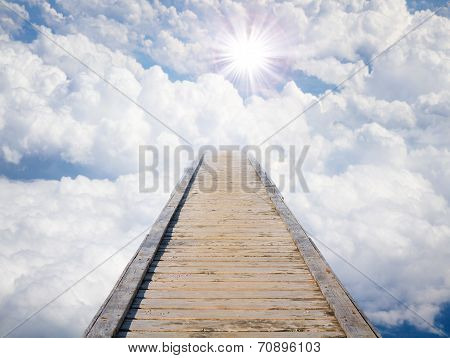 Blue Sky With Sun And Beautiful Clouds.
