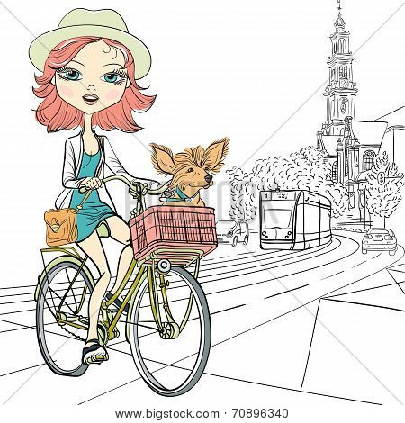 Vector Cute Girl With Dog On The Bike In Amsterdam