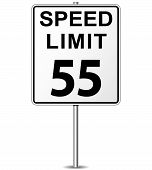 stock photo of mph  - illustration of fifty five speed limit signpost - JPG