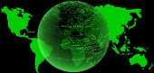 World Map And Full-globe In Glow Green