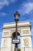 stock photo of charles de gaulle  - Street sign for Place Charles De Gaulle with the Arc de Triomphe in the background - JPG