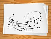 stock photo of g clef  - Illustration of a sheet of music notes - JPG
