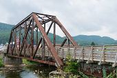 image of trestle bridge  - Old railroad bridge converted for pedestrian use Parsons West Virginia - JPG