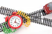 stock photo of time-bomb  - Train and time bomb on the white background - JPG