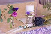 image of dowry  - Decoration for wedding table in purple color  - JPG