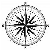 pic of compass rose  - Compass rose isolated on white - JPG