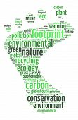 image of carbon-footprint  - Words illustration of a green footprint over white background - JPG