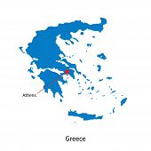 stock photo of physical education  - Detailed vector map of Greece and capital city Athens - JPG