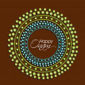 stock photo of rangoli  - Colourful picture of flower decorated rangoli with stylish text - JPG
