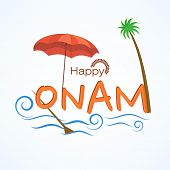 image of onam festival  - South Indian festival Onam celebrations with umbrella - JPG