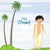 stock photo of onam festival  - Little cute boy wearing traditional south indian dress and standing with very happiness for celebration of onam festival and tree on blue and white background - JPG