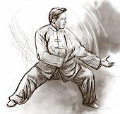 stock photo of tai-chi  - An hand drawn full sized illustration  - JPG
