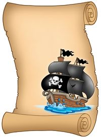 picture of pirate ship  - Pirate parchment with misty sailboat  - JPG