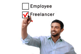 picture of self-employment  - young handsome business man choosing freelancer to employee option at work formular ticking box with red marker on glass isolated on white background in self - JPG