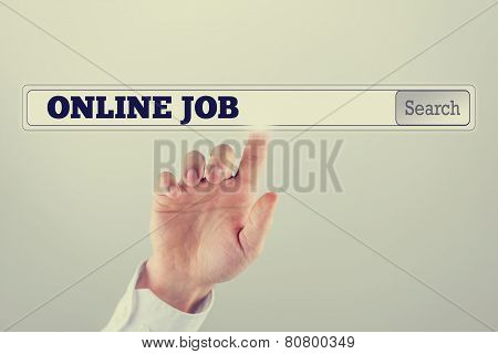 Search Bar On A Virtual Computer Screen With Online Job Text