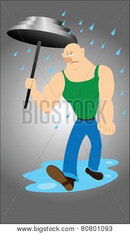 Body builder under umbrella