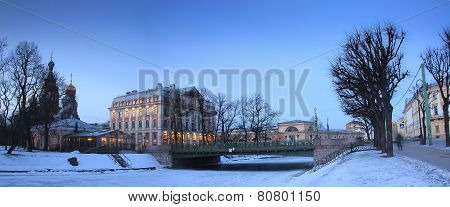 the Moika river embankment, Saint Petersburg, Russia