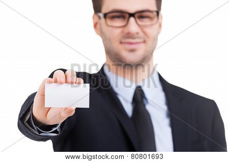 Copy Space On His Business Card.